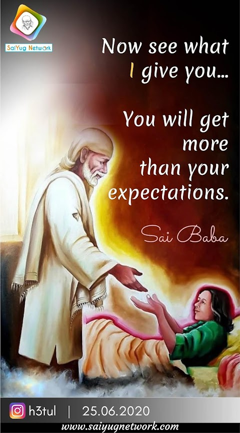 Get More Than Expectations - Sai Baba Taking Care Painting Image