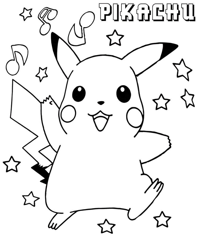 easy printable coloring book drawing pikachu for free -  coloring pages pokemon characters pikachu