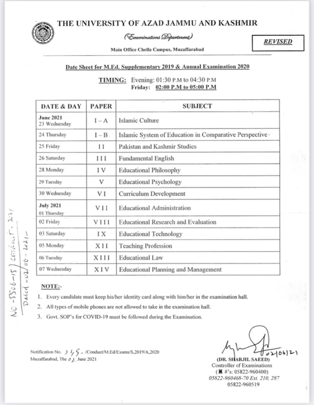 AJK University date sheet 2020 annual exam M.ED