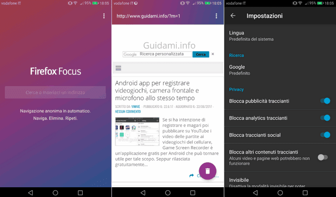 Firefox Focus per Android