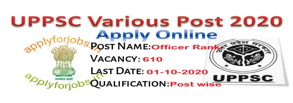 UPPSC Direct Recruitment Various Post 2020, applyforjobs.in