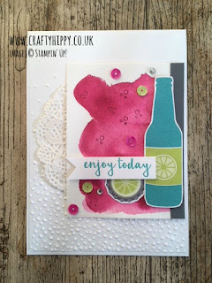 Create this beautiful card from Stampin' Up! using Aqua Painters, Berry Burst Classic Stampin' Pad, Bubbles & Fizz DSP and our Tutti Frutti Adhesive Backed Sequins.