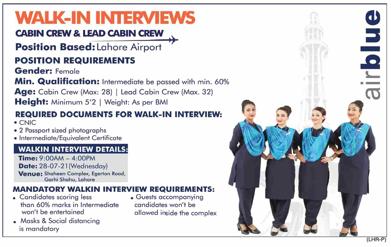 Air Blue Jobs For Cabin Crew & Lead Cabin Crew In Lahore