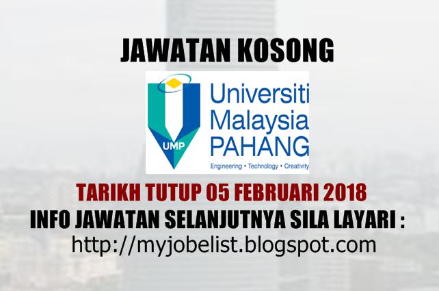 Jawatan Kosong di Universiti Malaysia Pahang (UMP) Februari 2018
