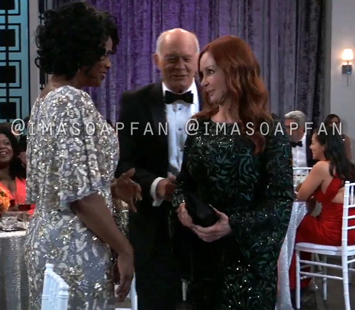 Bobbie Spencer, Jackie Zeman, Green and Black Sequined Lace Gown with Bell Sleeves at the Nurses Ball, General Hospital, GH