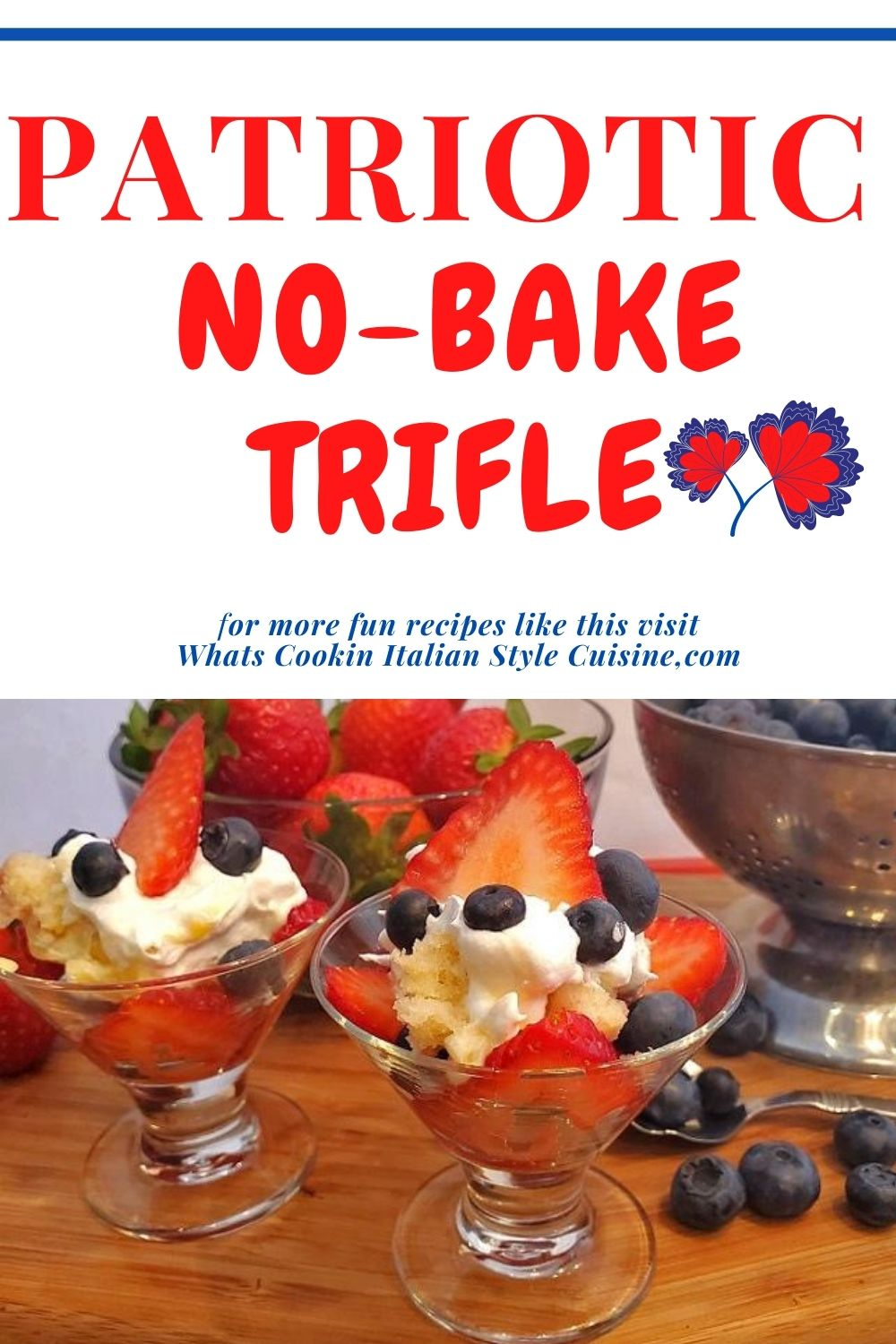 this is a pin for later no bake Trifle dessert with berries and whipped cream and cake layers