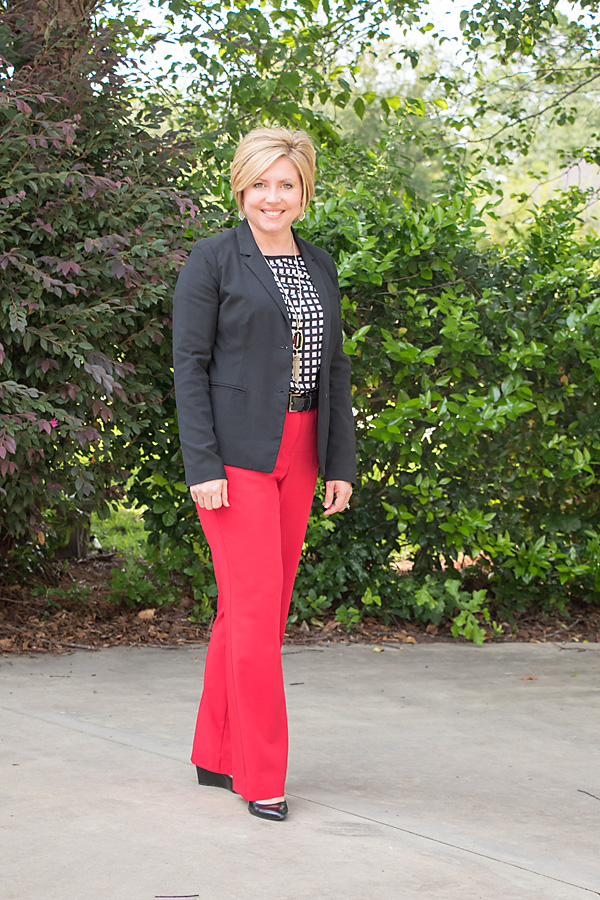 red, black and white outfit