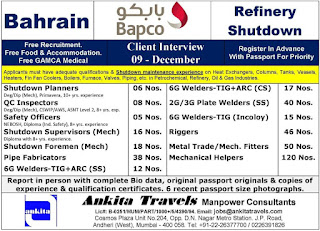 Bapco Free Recruitment for Bahrain