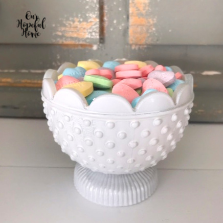 spray painted white hobnail milk glass conversation hearts