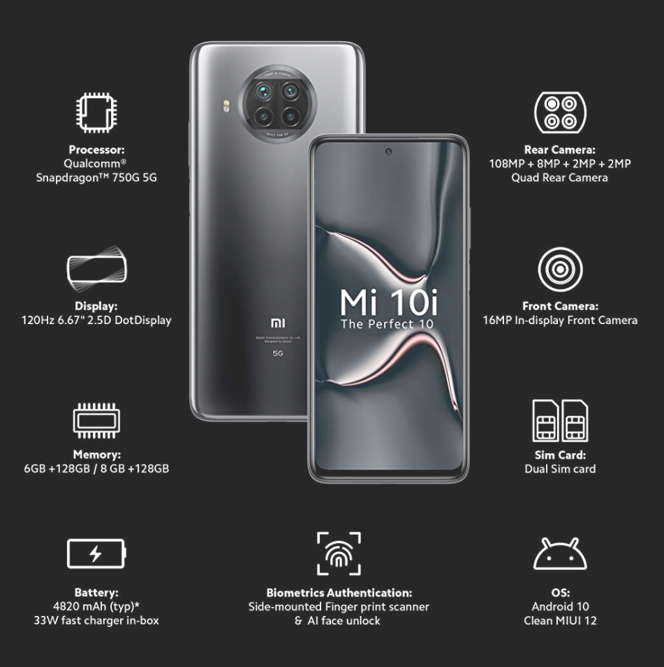 Xiaomi's new mobile phone MI 10i 5G is the best mobile phone with Qualcomm Snapdragon 765g processor and 108 megapixel camera