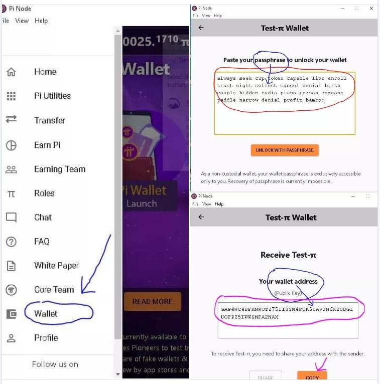 Cách bước tạo ví wallet cho Pi Network