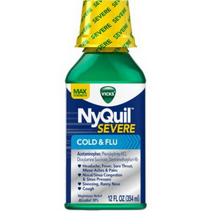 Siro Cảm Cúm Vicks NyQuil Severe Cold Flu Liquid Hàng Xách Tay Từ Mỹ