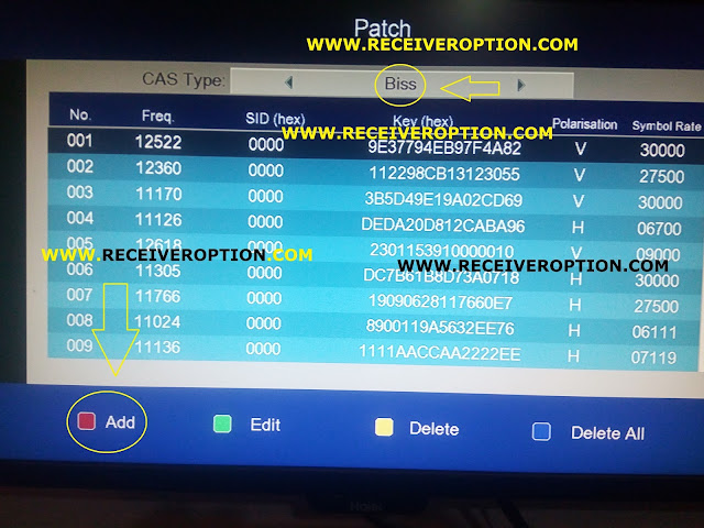 SAT TRACK AERO PLUS HD RECEIVER BISS KEY OPTION