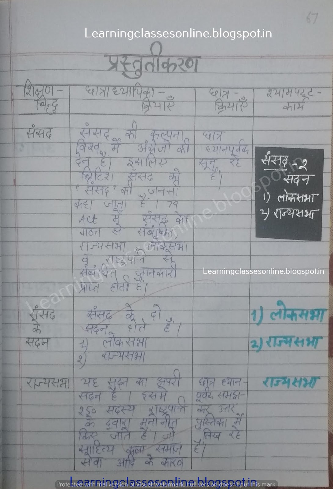 lesson plan for social science class 8,