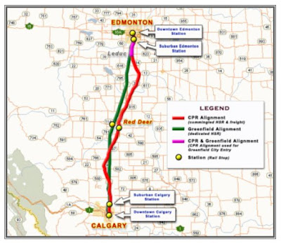 Edmonton- Calgary High Speed Rail Map