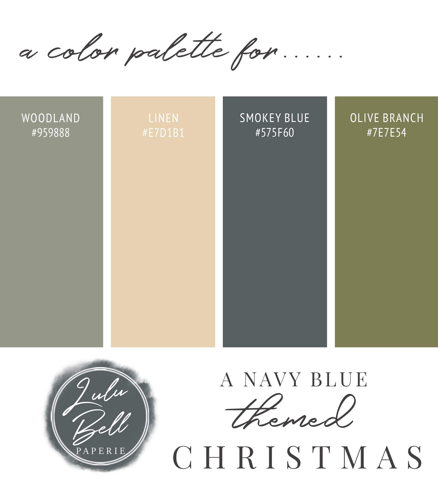 Green, Gold, and Navy Blue Christmas Color Palette Swatch Card : Woodland, Linen, Smokey Blue, and Olive Branch