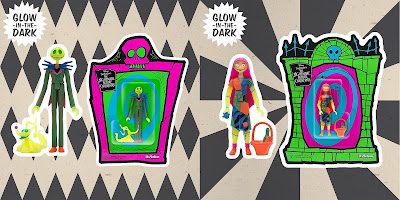 San Diego Comic-Con 2020 Exclusive The Nightmare Before Christmas Neon Glow in the Dark ReAction Figures by Super7