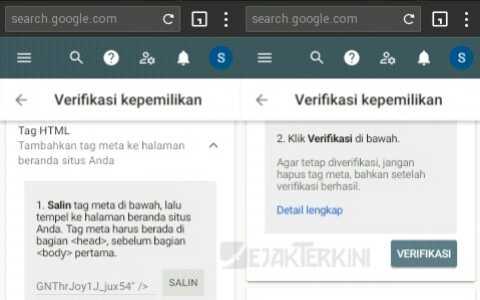 contoh verifikasi google search console