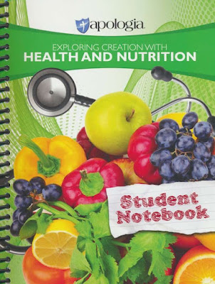 Student health nutrition notebook cover with pictures of grapes, apples, cucumbers, oranges, and lettuce.
