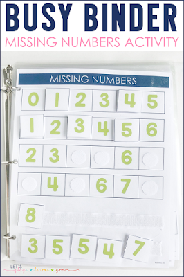 Missing Numbers Busy Binder Activity