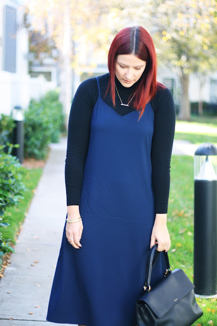 navy slip dress, red hair, blog, fashion, jewelry