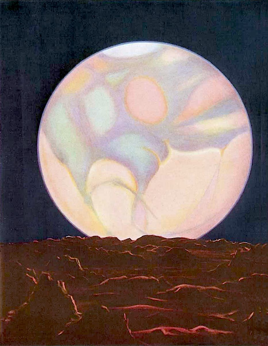 Charles Bittinger illustration, a view of Mars from one of it's moons