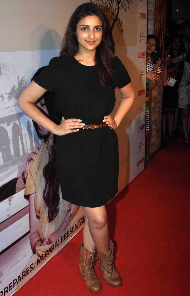 Mumbai Girl Parineeti Chopra Long Legs Thighs Show In Mini Black Skirt