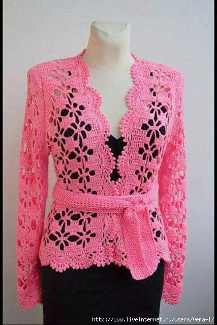 Blouse with pink crochet