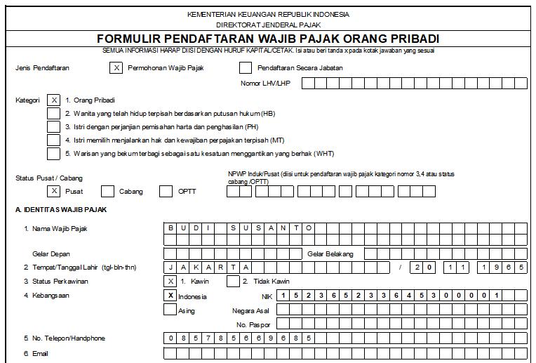 Cara Mengisi Kolom Identitas Wajib Pajak di Formulir NPWP Pribadi