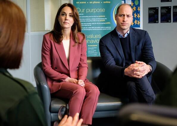 Kate Middleton wore Marks & Spencer wool blend double breasted blazer, and Hugo Boss grey embossed leather pumps