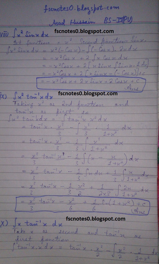 FSc ICS Notes Math Part 2 Chapter 3 Integration Exercise 3.4 Question 1 Asad Hussain 4