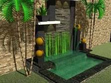 taman rumah kolam air mancur indah
