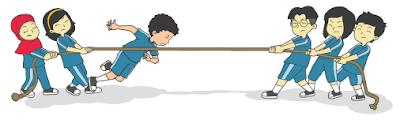 anak-anak SD Nusantara bermain tarik tambang www.simplenews.me