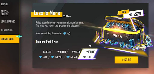 Free Fire Less is More Diamond Top-up Redeem Code Today