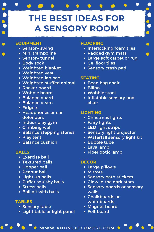 A list of ideas for a sensory room