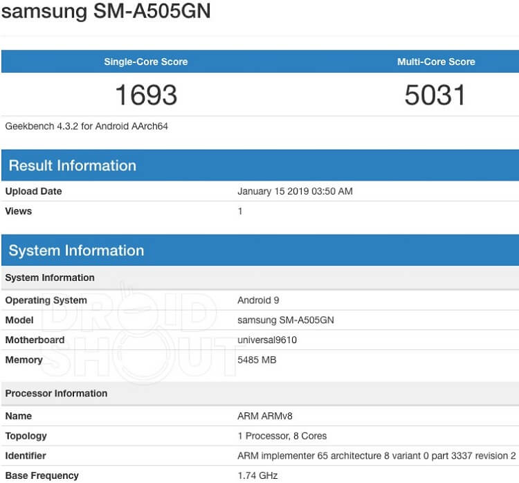 Samsung Galaxy A50 Appeared on Geekbench