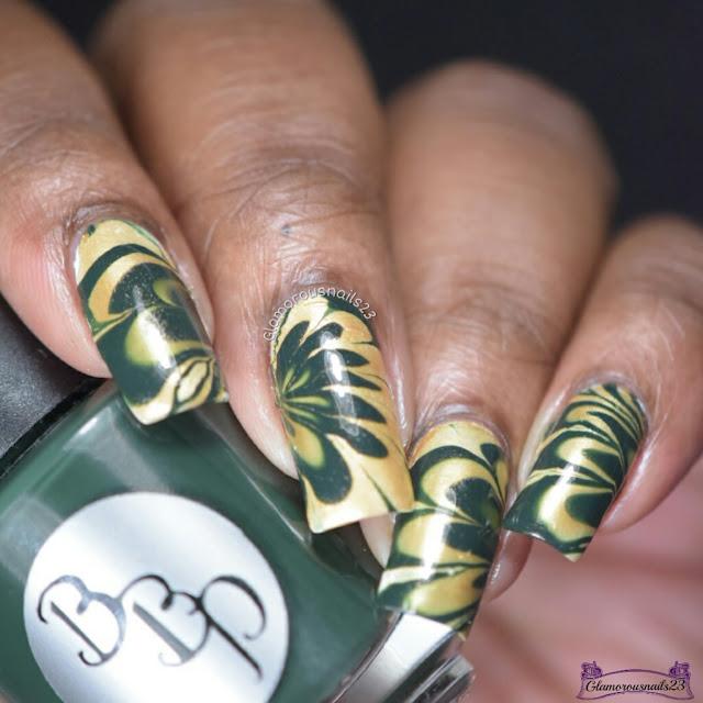 Watermarble Wednesdays: Dark Green & Gold