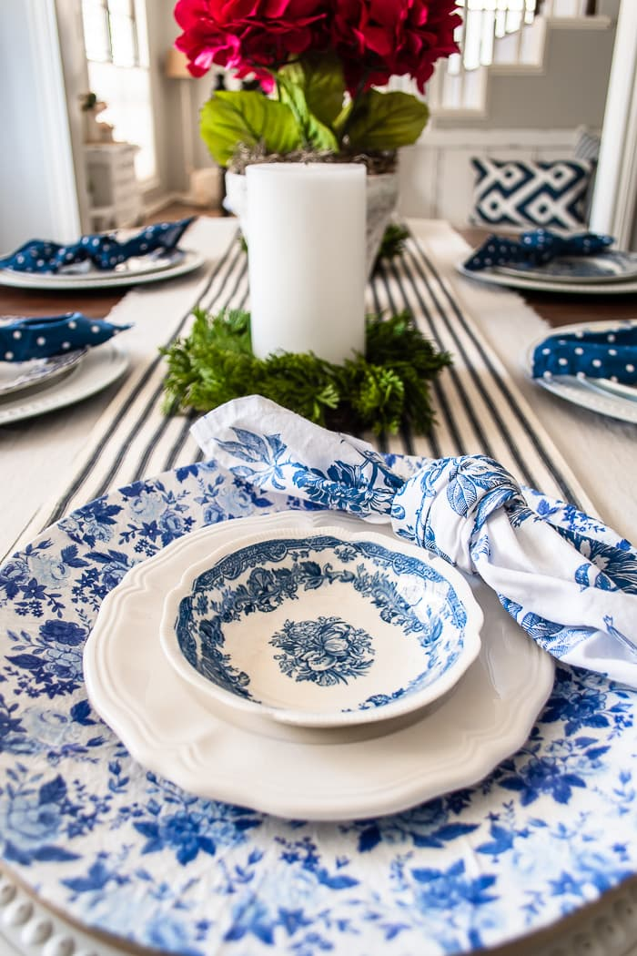 vintage dishes in a modern setting