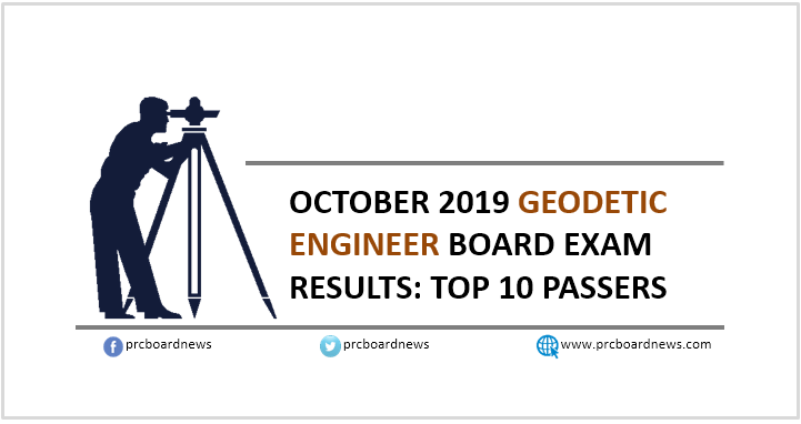 Top 10 Passers: October 2019 Geodetic Engineer board exam result