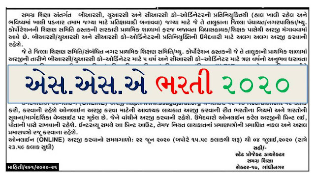 SSA Gujarat Recruitment 2020 SSA Gujarat BRC/ URC/ CRC Coordinator Apply Online www.ssagujarat.org