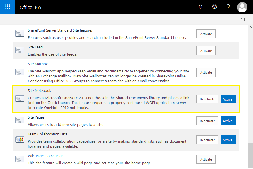 sharepoint online remove notebook link