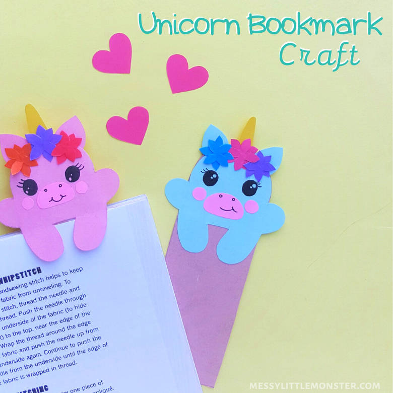 unicorn bookmark craft for kids