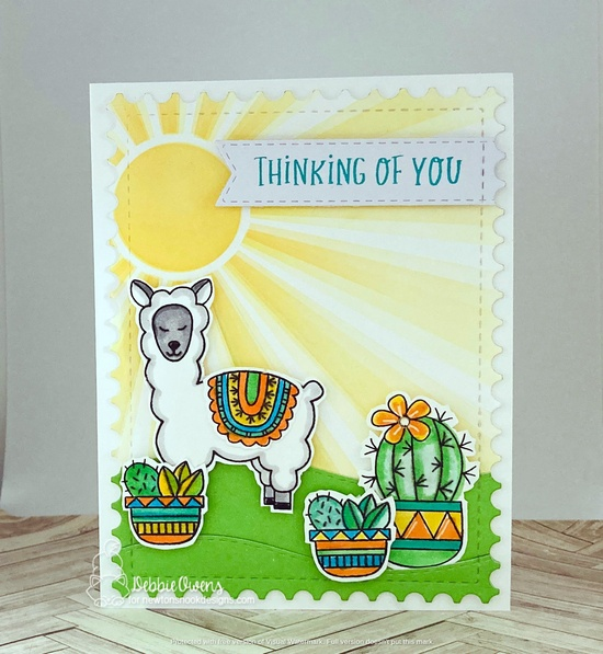 Thinking of you by Debbie features Loveable Llamas, Framework, Cuppa Cactus, Sunscape, Land Borders, Banner Trio, and Floral Roundabout by Newton's Nook Designs; #newtonsnook