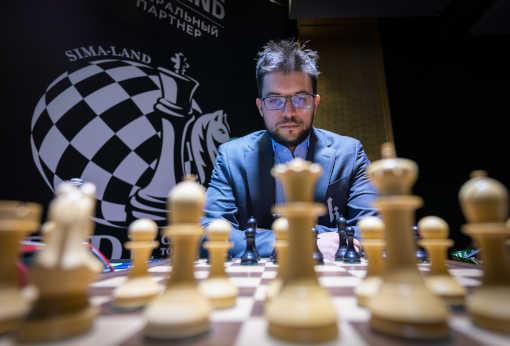 Le Français Maxime Vachier-Lagrave dans la salle du tournoi des candidats - Photo © Lennart Ootes