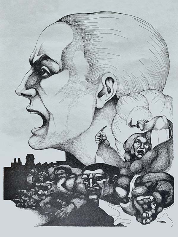 Ilustración en blanco y negro de Evita realizada por el artista Ricardo Carpani