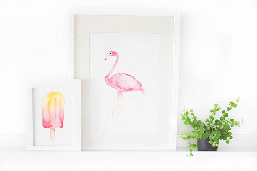 Free Printable Flamingo und Eis