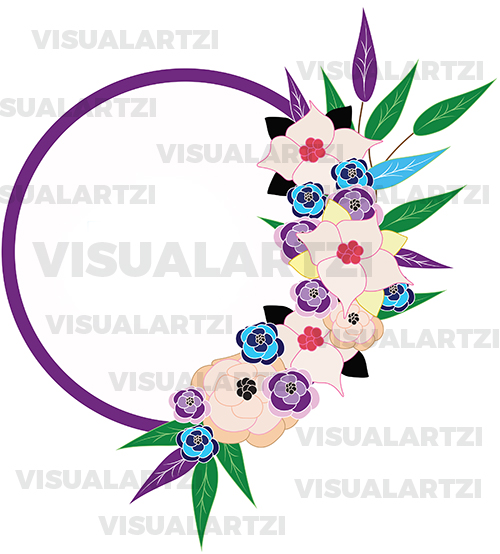Beautiful floral wreath pink blue yellow flowers and green leaves decor illustration visualartzi