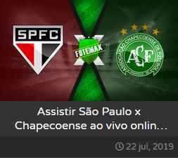 Assistir São Paulo x Chapecoense ao vivo  dia 22/07/2019 às 20h00 - Brasileirão Série A - Transmissão da SPORTV e PREMIERE  (FUTEMAX)