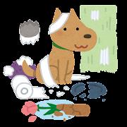 いたずらをする犬のイラスト