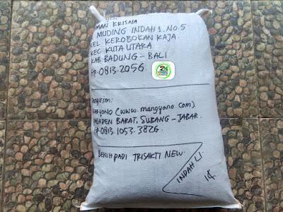 Benih padi yang dibeli   NYOMAN KRISNA Badung, Bali.  (Setelah packing karung).